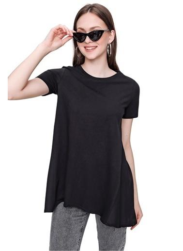 Butikburuç Kadın Beyaz Arkası Terikoton Tişört Siyah